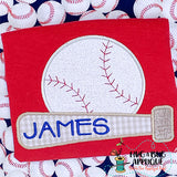 Bat Baseball Satin Stitch Applique, Applique