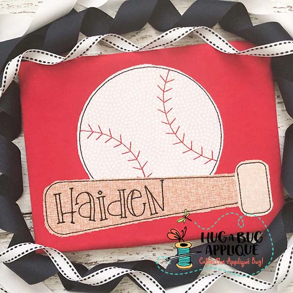 Bat Baseball Bean Stitch Applique-Embroidery Boutique