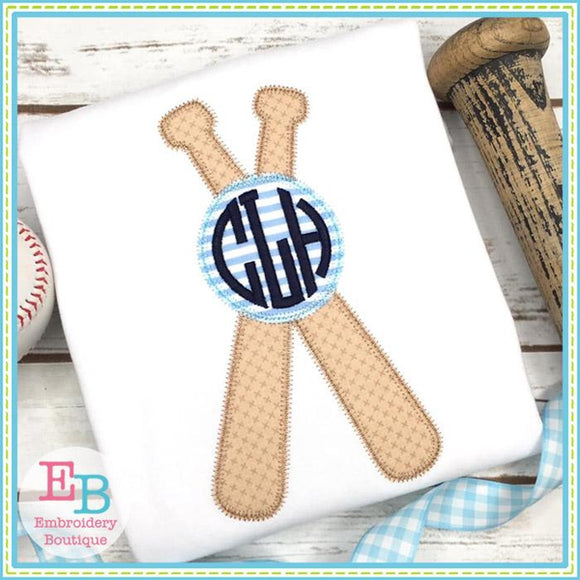 Baseball Bats Circle Zigzag Applique