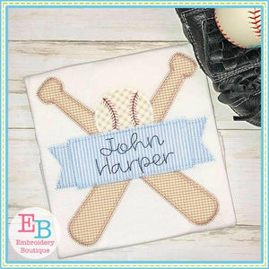 Bats Ball Banner Zigzag Applique