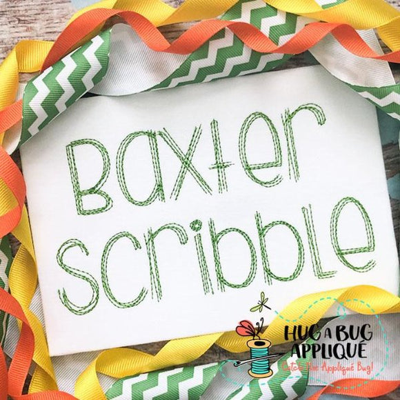 Baxter Scribble Stitch Embroidery Font-Embroidery Boutique