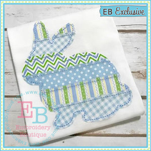 Strip Patchwork Bunny Applique, Applique
