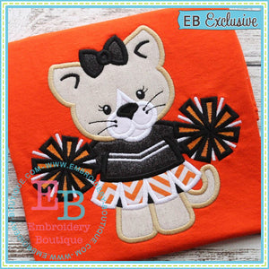 Girl Wildcat Mascot Applique - embroidery-boutique