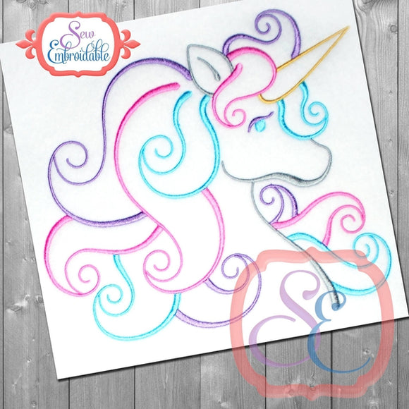 Unicorn Outline Design, Embroidery