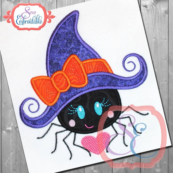 Spider Witch Hat Applique - embroidery-boutique