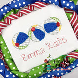 Beach Ball Trio Zig Zag Stitch Applique Design
