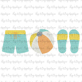 Beach Boy Trio Sketch Stitch Embroidery Design
