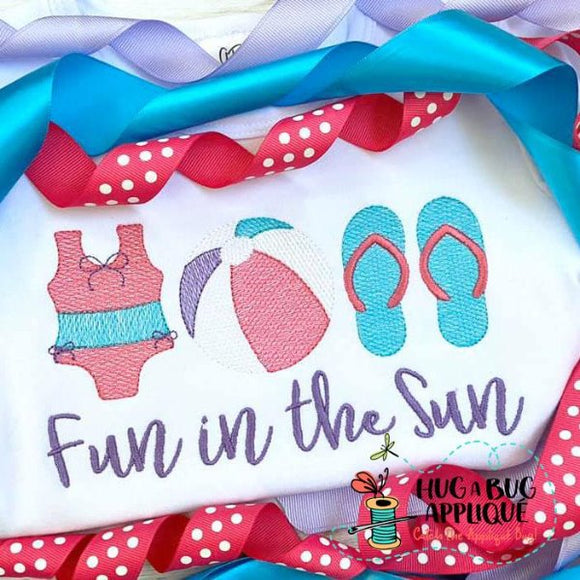 Beach Girl Trio Sketch Stitch Embroidery Design