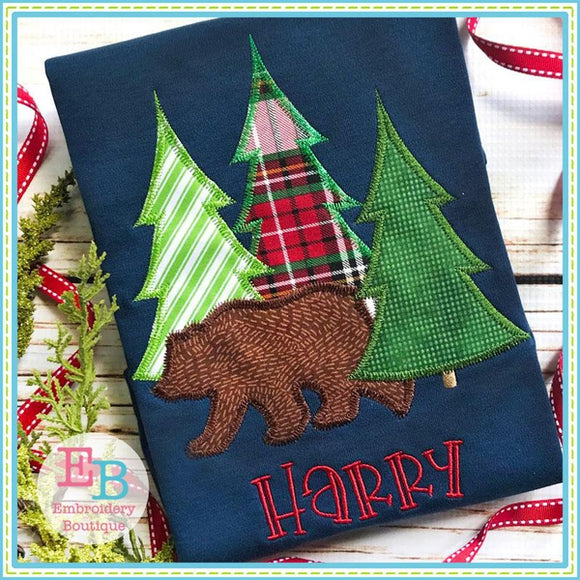 Bear Trees Zigzag Applique, Applique