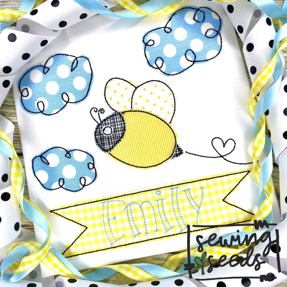 Bee with Name Banner Applique SS - Sewing Seeds
