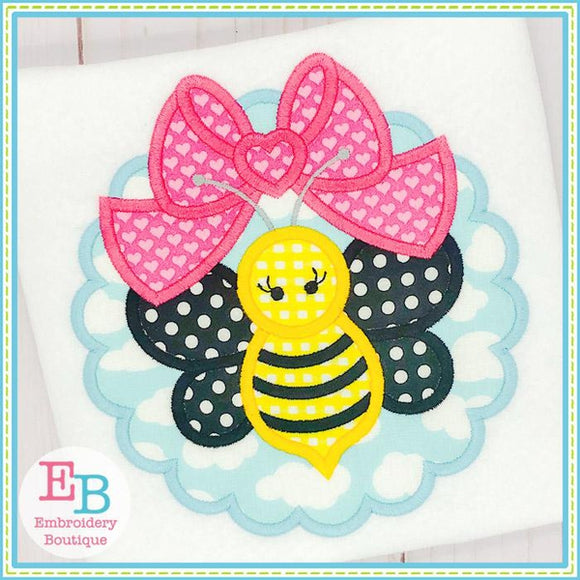 Scallop Bee Big Bow Applique