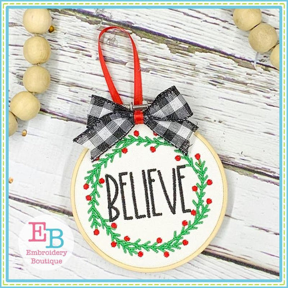 Believe Wreath Embroidery Design