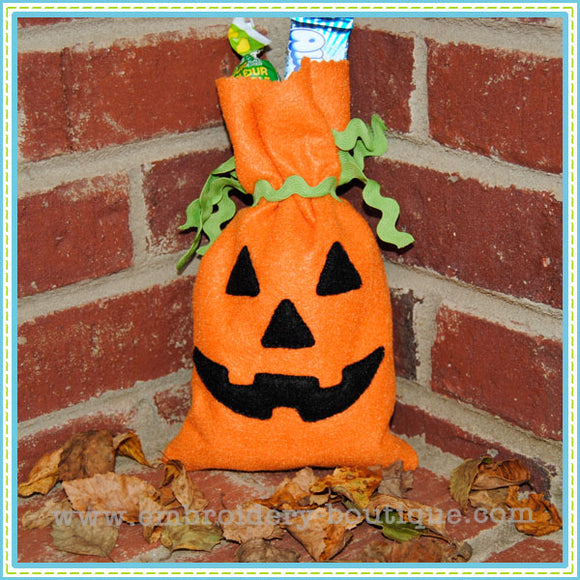 Tall Pumpkin Treat Bags, In The Hoop Projects