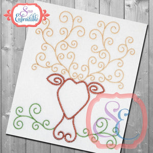 Stag Swirl Stem Embroidery Design, Embroidery