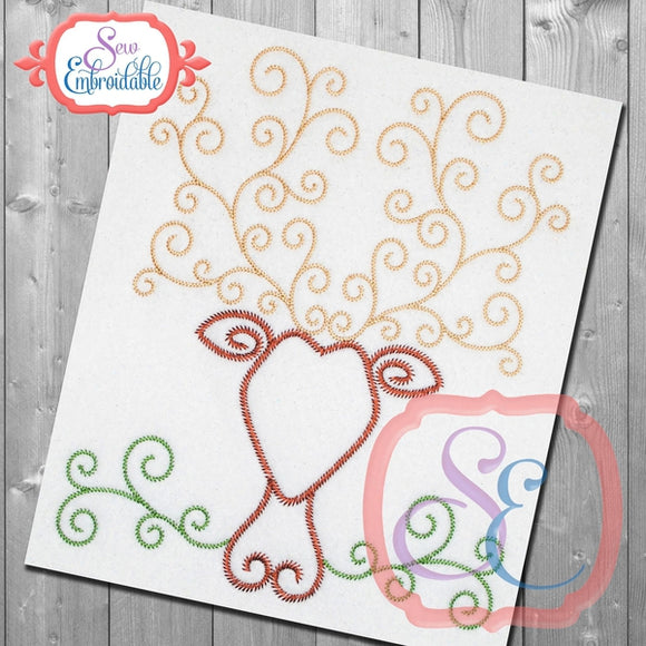 Stag Swirl Stem Embroidery Design - embroidery-boutique