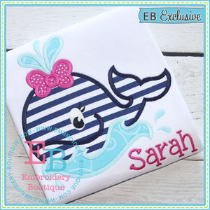 Girly Whale Waves Applique - embroidery-boutique