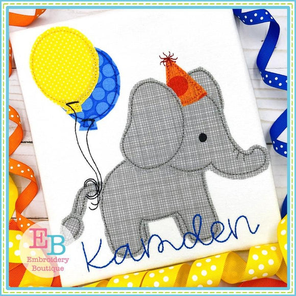 Birthday Elephant Applique, Applique