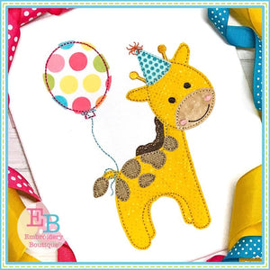 Birthday Giraffe Applique, Applique