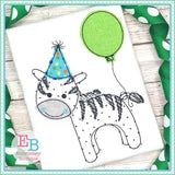 Birthday Zebra Applique, Applique
