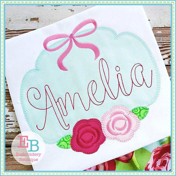 Rose Bow Blanket Stitch Applique Frame, Applique