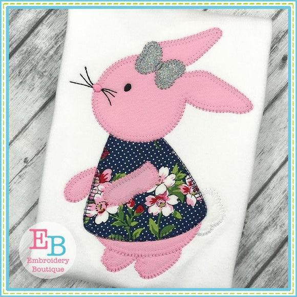Bunny Girl 2 Blanket Stitch Applique - Embroidery Boutique
