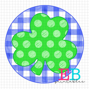 Shamrock Blue Dot Printable Design PNG