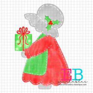Bonnet Girl Present Printable Design PNG, Printable