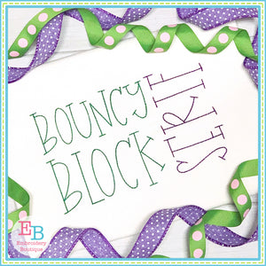 Bouncy Block Serif Embroidery Font, Embroidery Font