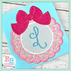 Scallop Inner Circle with Big Bow Applique, Applique