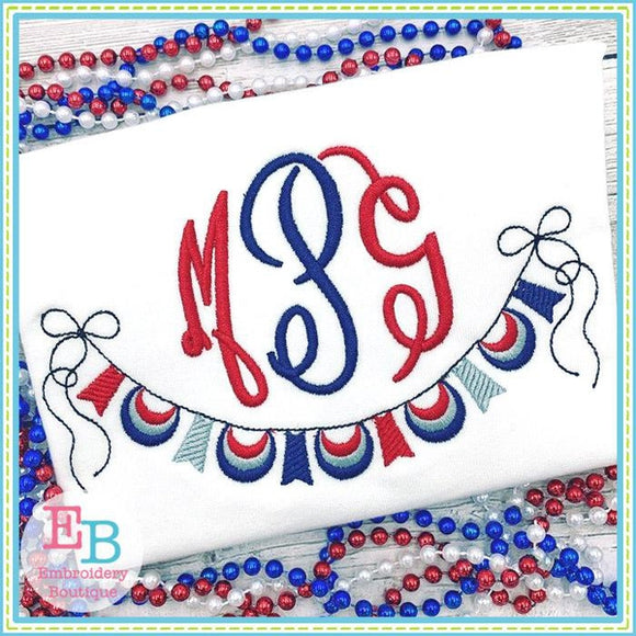 Red White and Blue Banner Design, Embroidery