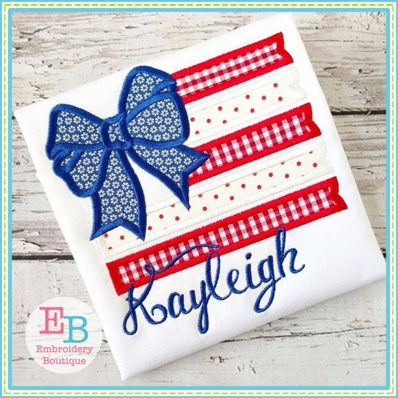 Flag Bow Applique - embroidery-boutique