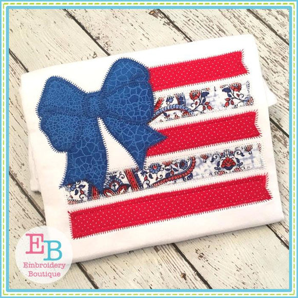 Flag Bow Zigzag Applique, Applique