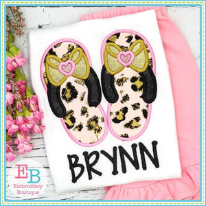 Bow Flip Flops Satin Applique
