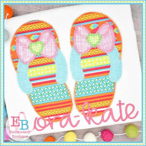 Bow Flip Flops Zigzag Applique