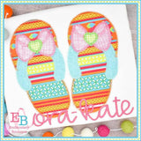 Bow Flip Flops Zigzag Applique, Applique