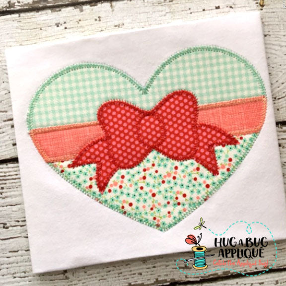 Bow Heart Zig Zag Stitch Applique Design, Applique