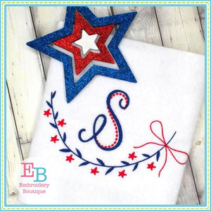 Star Bow Swag Embroidery Design