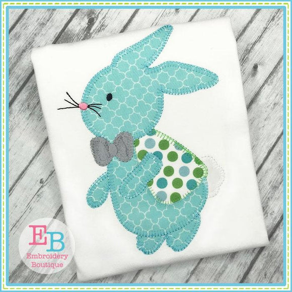 Bunny Boy 2 Blanket Stitch Applique - Embroidery Boutique