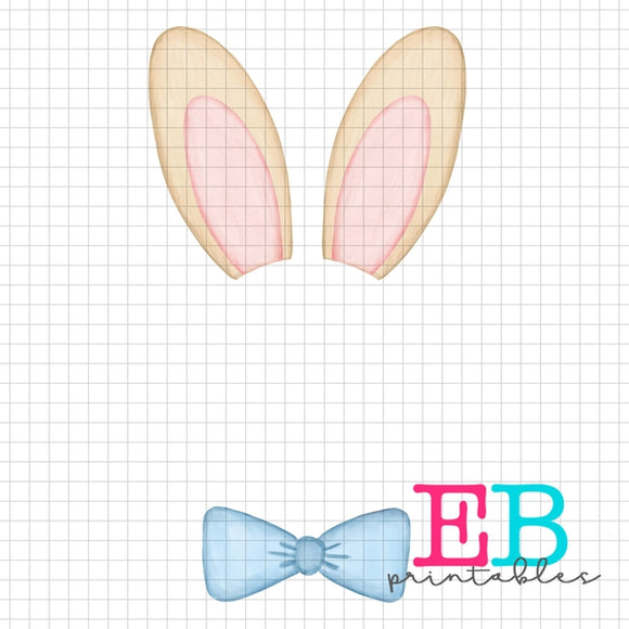 Boy Bunny Monogram Printable Design PNG