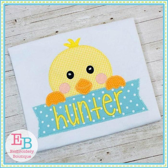 Boy Chick Banner Zigzag Applique