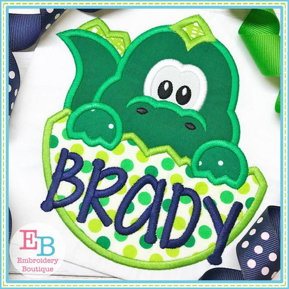 Dinosaur Boy In Egg Applique