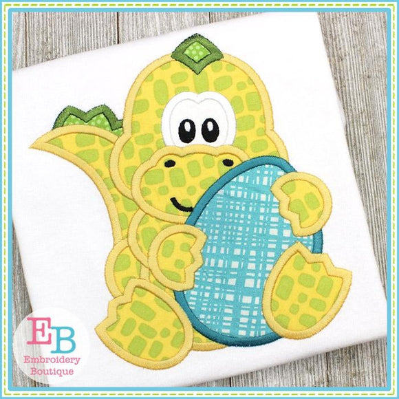Dinosaur Boy Holding Egg Applique
