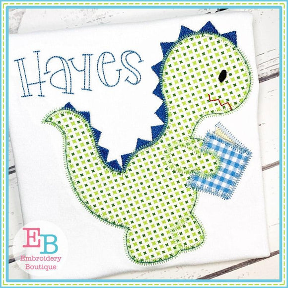 Reading Dinosaur Zigzag Applique