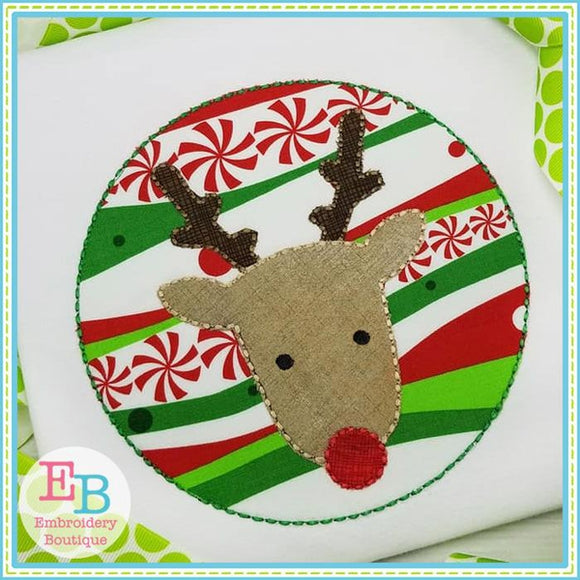 Reindeer Patch Floss Stitch Applique - embroidery-boutique