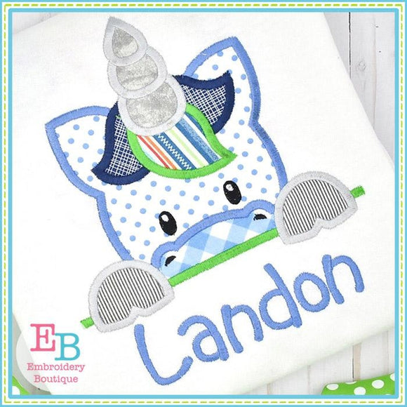 Unicorn Boy Peeker Applique, Applique