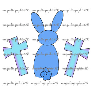 Blue Bunny with Crosses Printable Design PNG