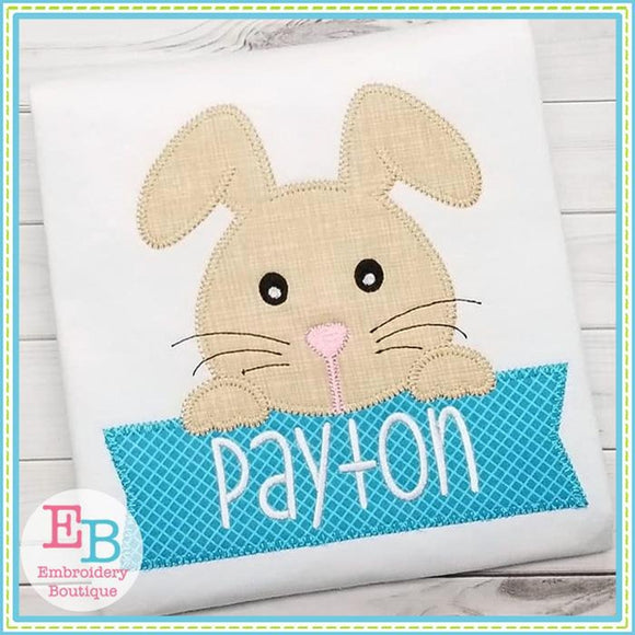Boy Bunny Banner Applique