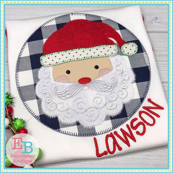 Santa Swirl Beard Blanket Stitch Patch - embroidery-boutique