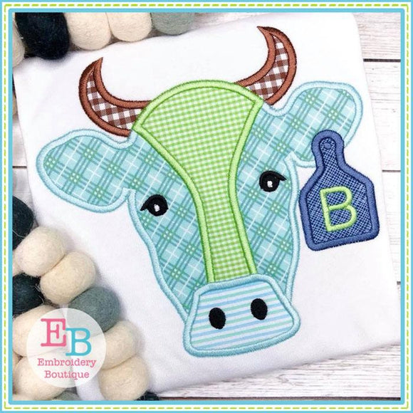Bull Applique, Cow Applique, Bull Embroidery Design,