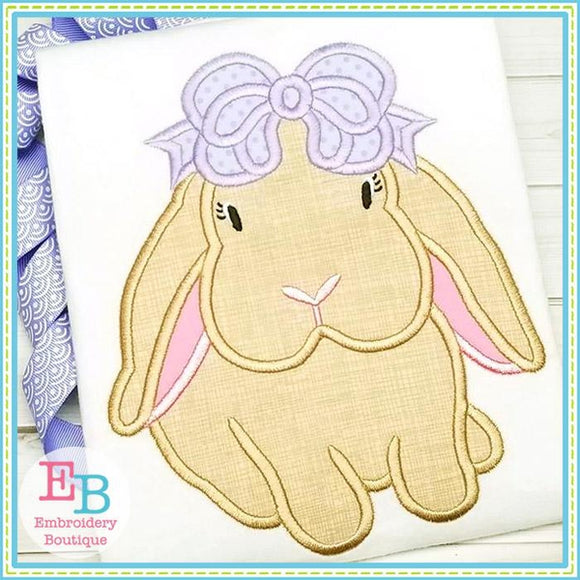 Bunny Bow Satin Applique
